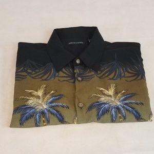 Pierre Cardin Hawaiian Style Mens Shirt Size Large